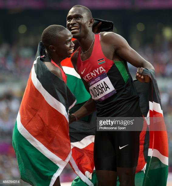 Gold medalist David Rudisha of Kenya celebrates with teammate and Bronze medalist Timothy Kitum after the Men's 800m Final on Day 13 of the London...