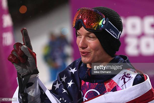 Gold medalist David Wise of the United States celebrates after the Freestyle Skiing Men's Ski Halfpipe Finals on day eleven of the 2014 2014 Winter...