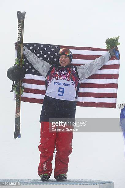 Gold medalist David Wise of the United States celebrates during the flower ceremony for the Freestyle Skiing Men's Ski Halfpipe Finals on day eleven...