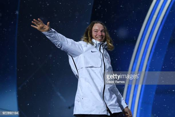 Gold medalist David Wise of the United States celebrates during the medal ceremony for Freestyle Skiing - Men's Ski Halfpipe on day 13 of the...