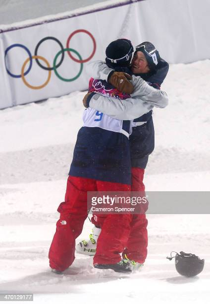Gold medalist David Wise of the United States celebrates with Aaron Blunck of the United States after the Freestyle Skiing Men's Ski Halfpipe Finals...