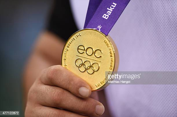 Gold Medalist Davit Chakvetadze of Russia poses with his medal won in the Men's Wrestling 85kg Greco Roman finals during day two of the Baku 2015...