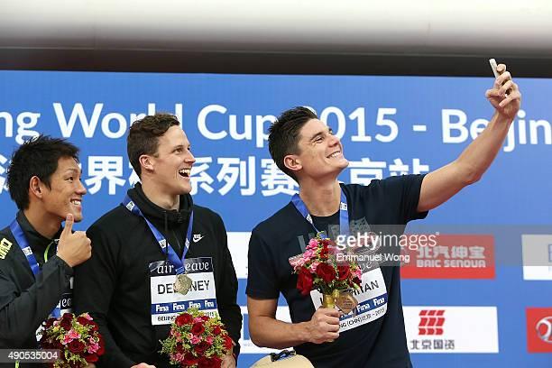 Gold medalist Delaney Ash of AustraliaSilver medalist Shirai Yuki of Japan and bronze medalist Loughran Marco of Great Britan poses during the medal...