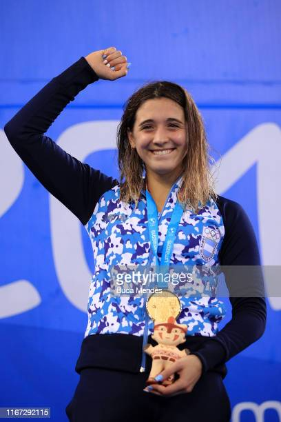 Gold medalist Delfina Pignatiello of Argentina in the podium of Women's 1500m Freestyle Final 2 on Day 15 of Lima 2019 Pan American Games at Aquatic...