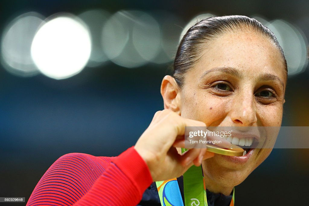 Gold medalist Diana Taurasi #12 of United States celebrates during the medal ceremony after the Women's Basketball competition on Day 15 of the Rio 2016 Olympic Games at Carioca Arena 1 on August 20, 2016 in Rio de Janeiro, Brazil.