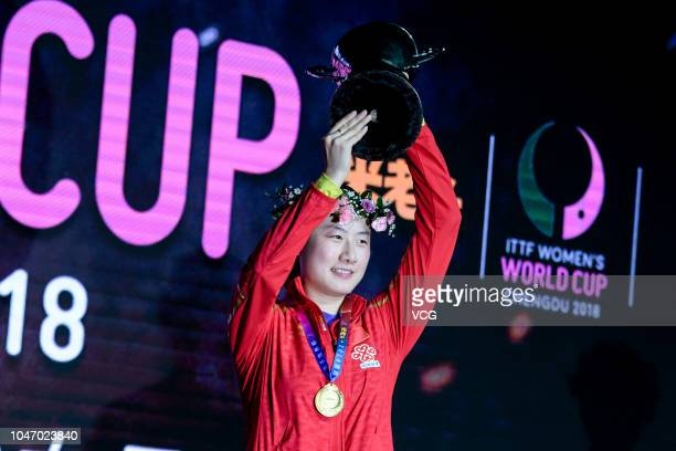 Gold medalist Ding Ning of China poses for photographs at the medal ceremony on day three of 2018 ITTF Women's World Cup at Sichuan Gymnasium on...