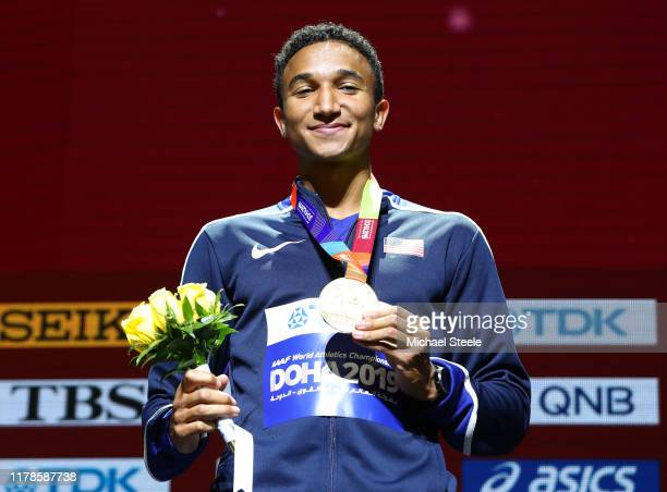 Gold medalist Donavan Brazier of the United States stands on the podium during the medal ceremony for the Men's 800 metres final during day six of...