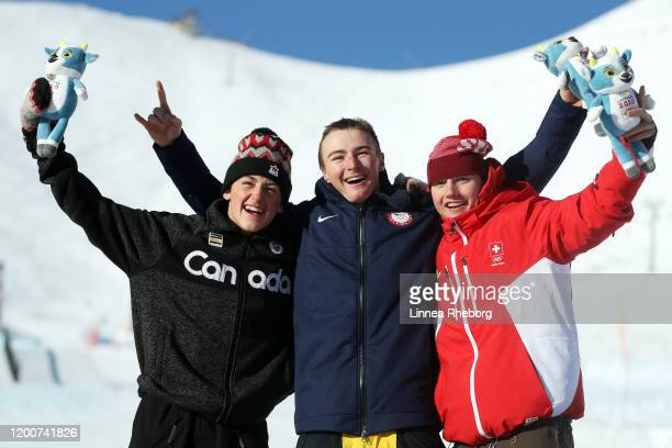 Gold Medalist Dusty Henrickson of the United States poses with silver medalist Liam Brearley of Canada and bronze medalist Nick Puenter of...