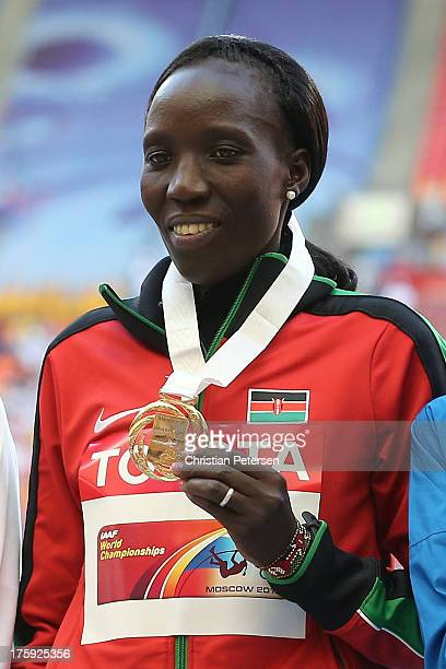 Gold medalist Edna Ngeringwony Kiplagat of Kenya on the podium during the medal ceremony for the Women's Marathon during Day One of the 14th IAAF...