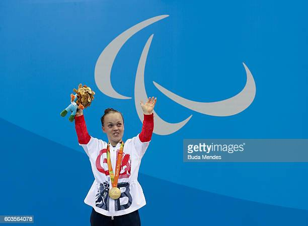 Gold medalist Eleanor Simmonds of Great Britain celebrates on the podium at the medal ceremony for the Womens 200m Individual Medley SM6 Final during...