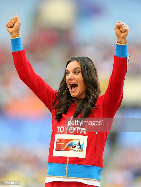 Gold medalist Elena Isinbaeva of Russia poses on the podium during the medal ceremony for the Women's Pole Vault during Day Six of the 14th IAAF...