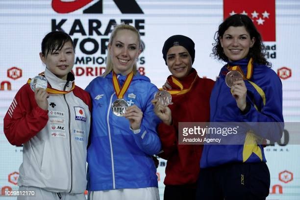 Gold medalist Eleni Chatziliadou silver medalist Ayumi Uekusa of Japan bronze medalists Shymaa Abouel Yazed of Egypt and Hana Antunovic of Sweden...
