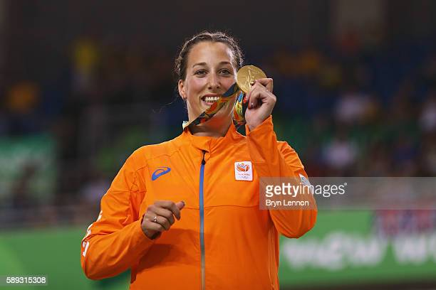 Gold medalist Elis Ligtlee of the Netherlands celebrates on the podium at the medal ceremony for the Women's Keirin on Day 8 of the Rio 2016 Olympic...