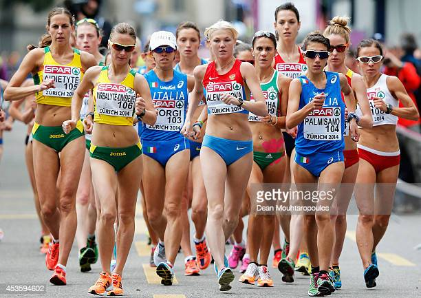 Gold medalist Elmira Alembekova of Russia leads the field during the Women's 20km Race Walk during day three of the 22nd European Athletics...