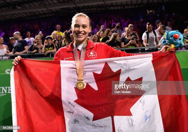 Gold medalist Elsabeth Black of Canada celebrates during the medal ceremony for the Women's Individual AllAround Final during Gymnastics on day three...