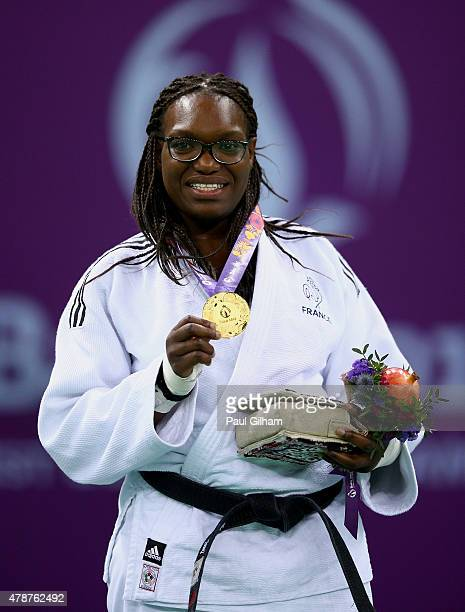 Gold medalist Emilie Andeol of France stands on the podium during the medal ceremony for the Women's Judo 78kg on day fifteen of the Baku 2015...