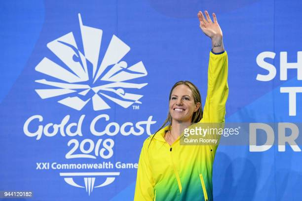 Gold medalist Emily Seebohm of Australia poses during the medal ceremony for the Women's 50m Backstroke Final on day six of the Gold Coast 2018...