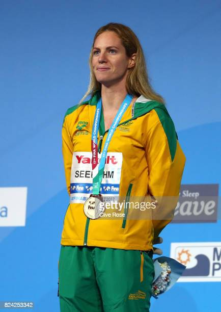 Gold medalist Emily Seebohm of Australia poses with the medal won during the Women's 200m Backstroke final on day sixteen of the Budapest 2017 FINA...