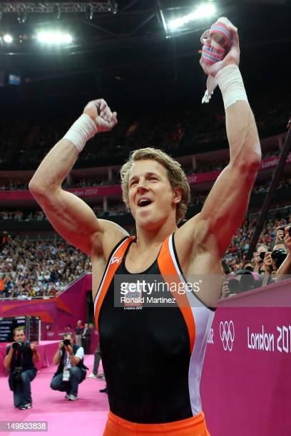 Gold medalist Epke Zonderland of Netherlands celebrates after the Artistic Gymnastics Men's Horizontal Bar final on Day 11 of the London 2012 Olympic...