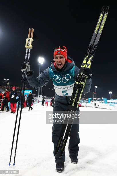 Gold medalist Eric Frenzel of Germany celebrates after the Nordic Combined Individual Gundersen Normal Hill and 10km Cross Country on day five of the...