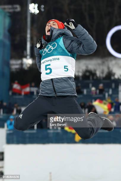 Gold medalist Eric Frenzel of Germany celebrates on the podum during the victory ceremony for the Nordic Combined Individual Gundersen Normal Hill...