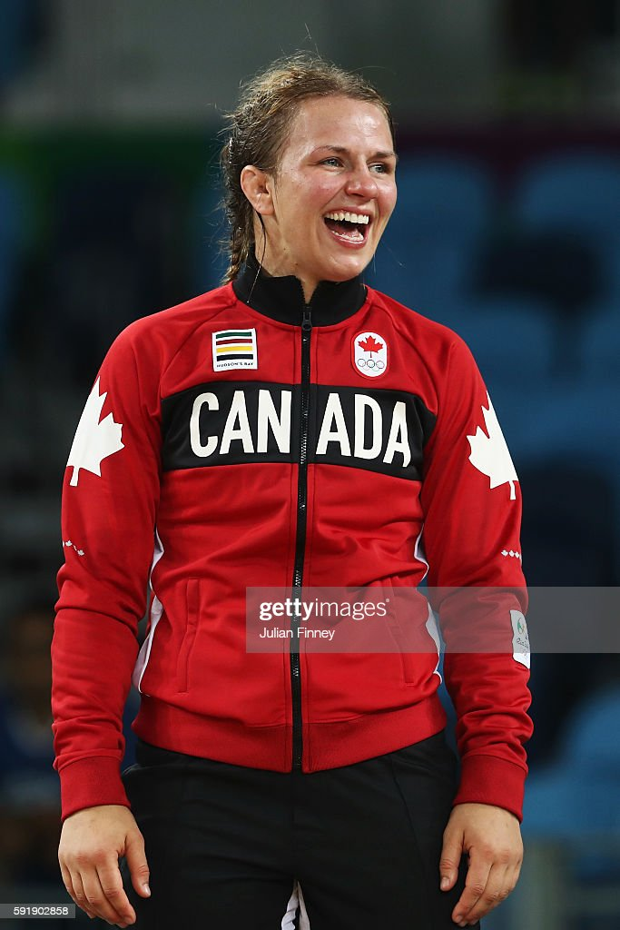 Gold medalist Erica Elizabeth Wiebe of Canada celebrates during the medal ceremony following the Women's Freestyle 75 kg competition on Day 13 of the Rio 2016 Olympic Games at Carioca Arena 2 on August 18, 2016 in Rio de Janeiro, Brazil.