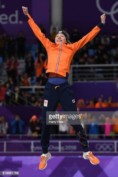 Gold medalist Esmee Visser of the Netherlands celebrates during the victory ceremony after the Ladies' Speed Skating 5000m on day seven of the...
