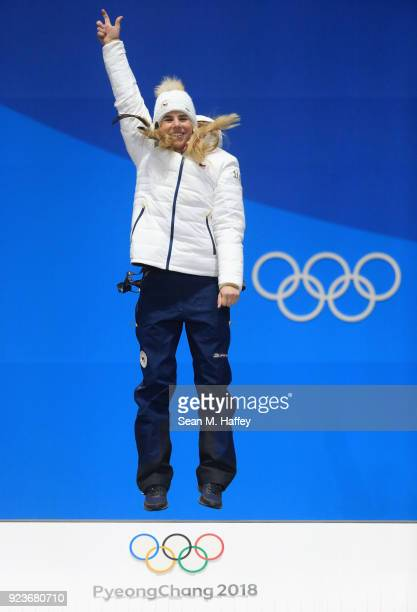 Gold medalist Ester Ledecka of the Czech Republic celebrates during the medal ceremony for Ladies' Snowboard Parallel Giant Slalom on day fifteen of...