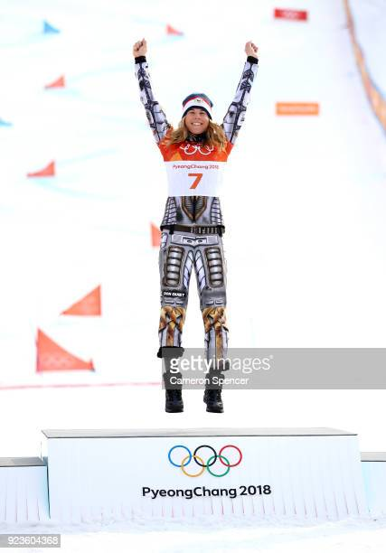 Gold medalist Ester Ledecka of the Czech Republic poses during the victory ceremony for the Ladies' Snowboard Parallel Giant Slalom on day fifteen of...
