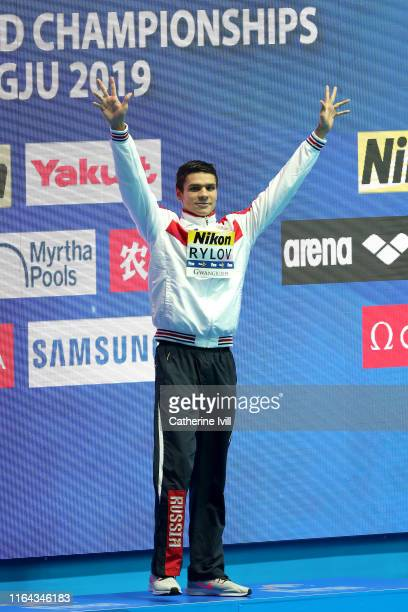 Gold medalist Evgeny Rylov of Russia poses during the medal ceremony for the Men's 200m Backstroke Final on day six of the Gwangju 2019 FINA World...