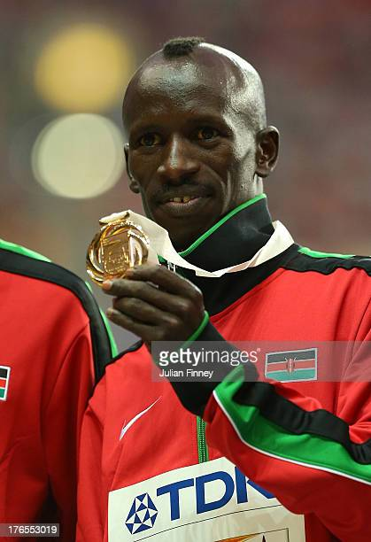 Gold medalist Ezekiel Kemboi of Kenya on the podium during the medal ceremony for the Men's 3000 metres steeplechase during Day Six of the 14th IAAF...