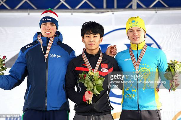 Gold medalist Fan Yang of China Silver medalist Patrick Roest of the Netherlands and Bronze medalist Stanislav Palkin of Kazakhstan pose for a...