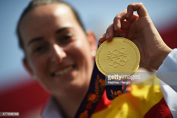 Gold medalist Fatima Galvez of Spain celebrates during the medal ceremony for the Women's Trap Shooting during day four of the Baku 2015 European...
