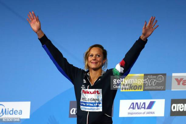 Gold medalist Federica Pellegrini of Italy celebrates during the medal ceremony for the Women's 200m Freestyle final on day thirteen of the Budapest...