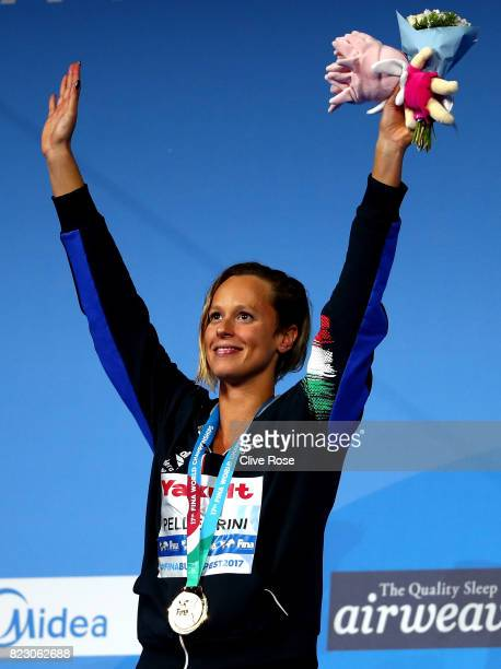 Gold medalist Federica Pellegrini of Italy poses with the medal won during the Women's 200m Freestyle final on day thirteen of the Budapest 2017 FINA...