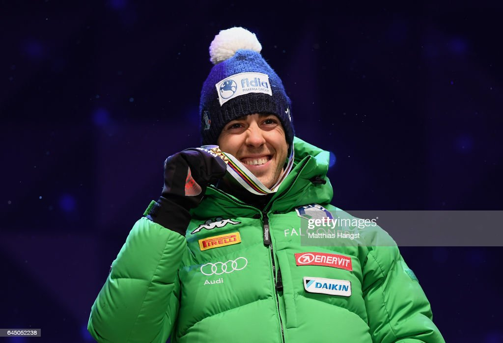 Gold medalist Federico Pellegrino of Italy poses with his medal during the medal ceremony after the Men's 1.6 KM Cross Country Sprint final during the FIS Nordic World Ski Championships onon February 24, 2017 in Lahti, Finland.