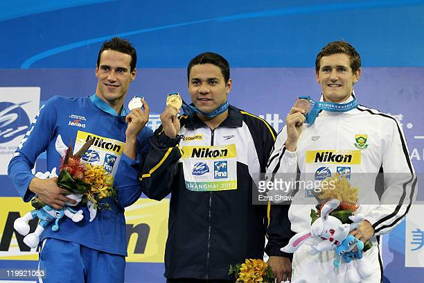 Gold medalist Felipe Alves Franca da Silva of Brazil poses with silver medalist Fabio Scozzoli of Italy and bronze medalist Cameron van der Burgh of...