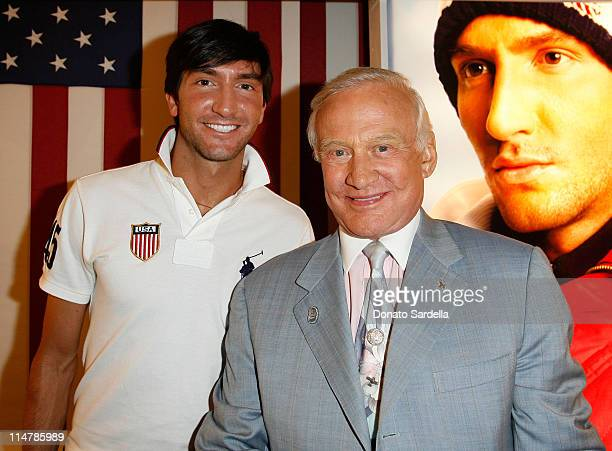 Gold medalist figure skater Evan Lysacek and Buzz Aldrin attend the celebration of Olympic gold medalist Evan Lysacek's victory at Ralph Lauren on...