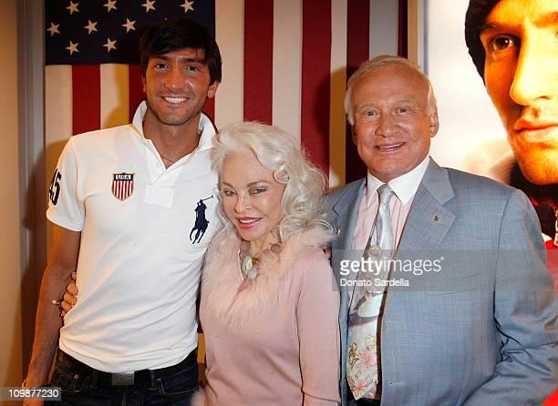 Gold medalist figure skater Evan Lysacek Lois Aldrin and Buzz Aldrin attend the celebration of Olympic gold medalist Evan Lysacek's victory at Ralph...