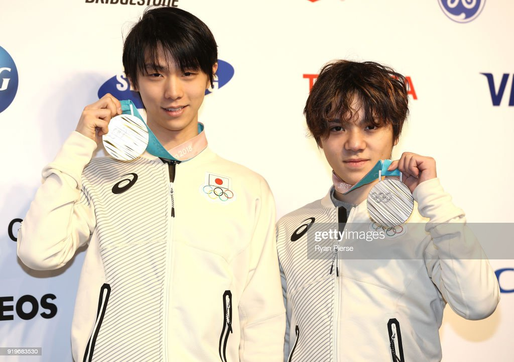 Gold Medalist Figure Skater Yuzuru Hanyu of Japan and Silver Medalist Figure Skater Shoma Uno of Japan pose with their medals during a press conference at Japan House on February 18, 2018 in Pyeongchang-gun, South Korea.