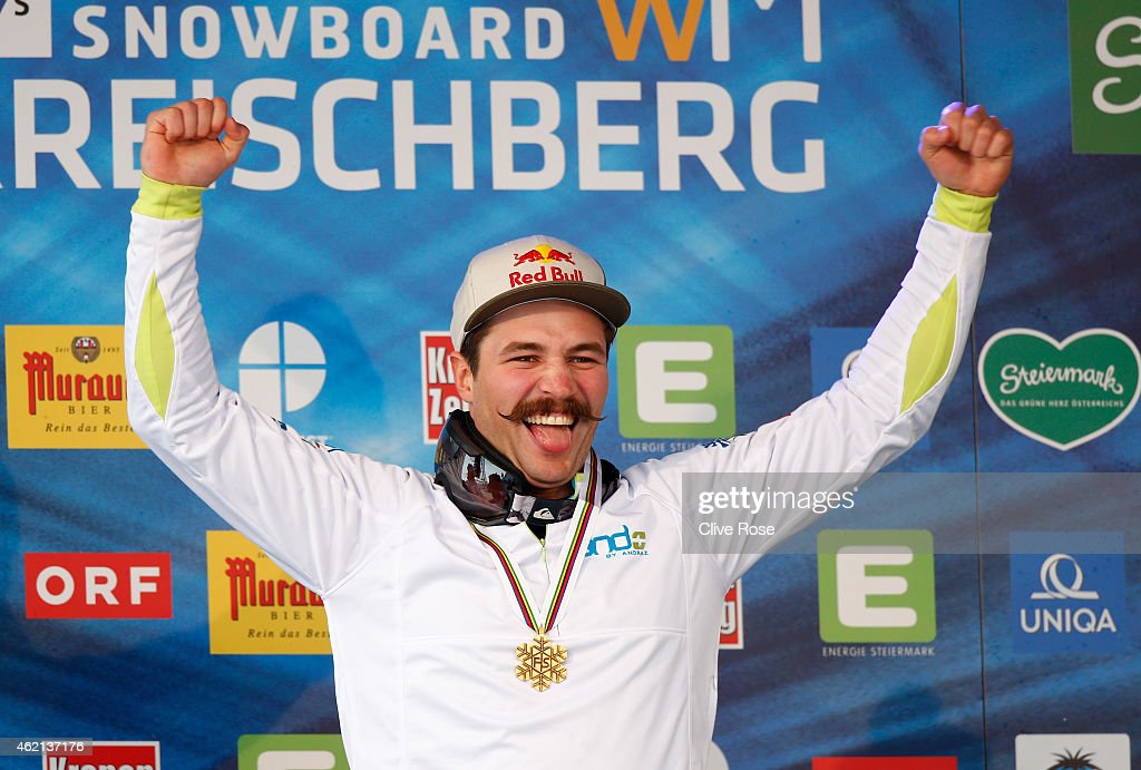 Gold medalist Filip Flisar of Slovenia celebrates after receiving the gold medal won in the Men's Ski Cross Finals during the FIS Freestyle Ski and Snowboard World Championships 2015 on January 25, 2015 in Kreischberg, Austria.