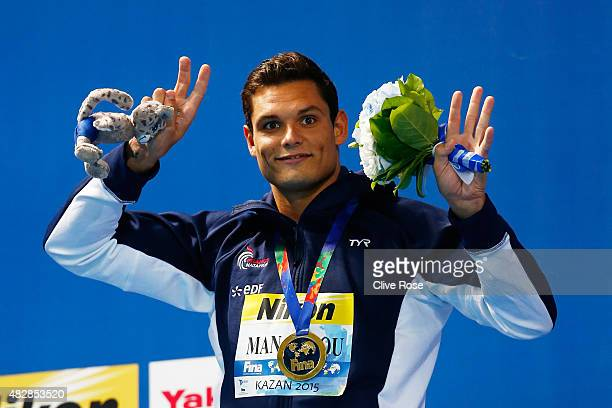 Gold medalist Florent Manaudou of France poses during the medal ceremony for the Men's 50m Butterfly on day ten of the 16th FINA World Championships...