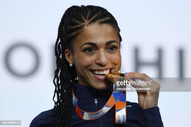 Gold medalist Floria Guei of France poses during the medal ceremony for the Women's 400 metres on day two of the 2017 European Athletics Indoor...