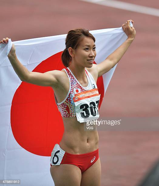 Gold medalist Fukushima Chisato of Japan celebrates after the Women's 100m Final during day two of the 21st Asian Athletics Championships at Wuhan...