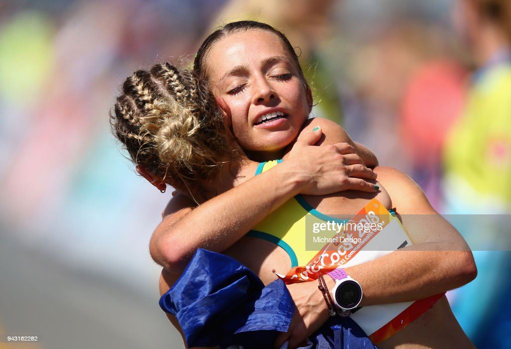 Gold Medalist, Gemima Montag of Australia consols the diasqualified Claire Tallent after during the Women's 20km Race Walk Final on day four of the Gold Coast 2018 Commonwealth Games at Currumbin Beachfront on April 8, 2018 on the Gold Coast, Australia.