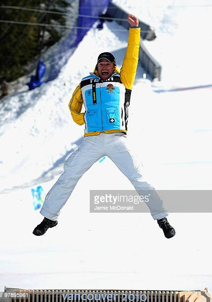 Gold medalist Gerd Schonfelder of Germany celebrates at the medal ceremony for the Men's Standing SuperG during Day 8 of the 2010 Vancouver Winter...