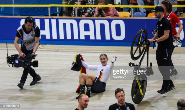 Gold medalist Germany's Kristina Vogel celebrates winning the women's sprint final during the UCI Track Cycling World Championships in Apeldoorn on...