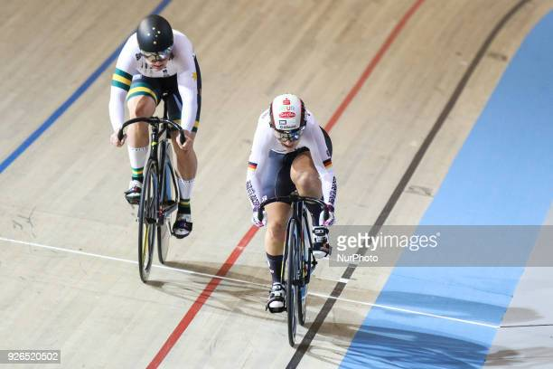 Gold medalist Germany's Kristina Vogel rides ahead of Silver medalist Australia's Stephanie Morto during the women's sprint final during the UCI...