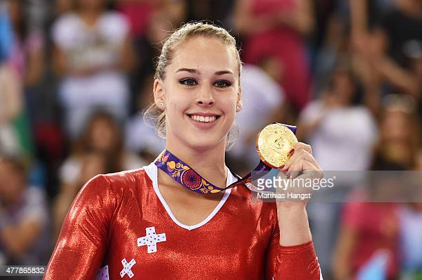 Gold medalist Giulia Steingruber of Switzerland celebrates during the medal ceremony for the Women's Vault final on day eight of the Baku 2015...