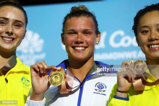 Gold medalist Grace Reid of Scotland poses during the medal ceremony for the Women's 1m Springboard Diving Final on day nine of the Gold Coast 2018...